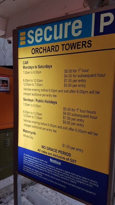 orchard towers carpark charges