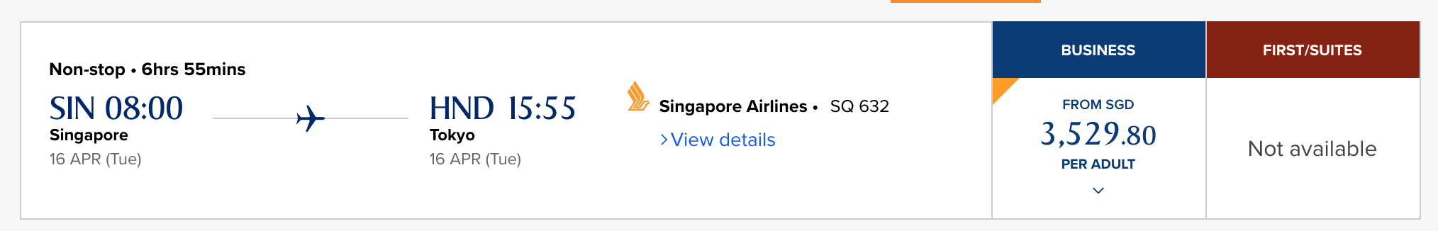 singapore airlines redemption