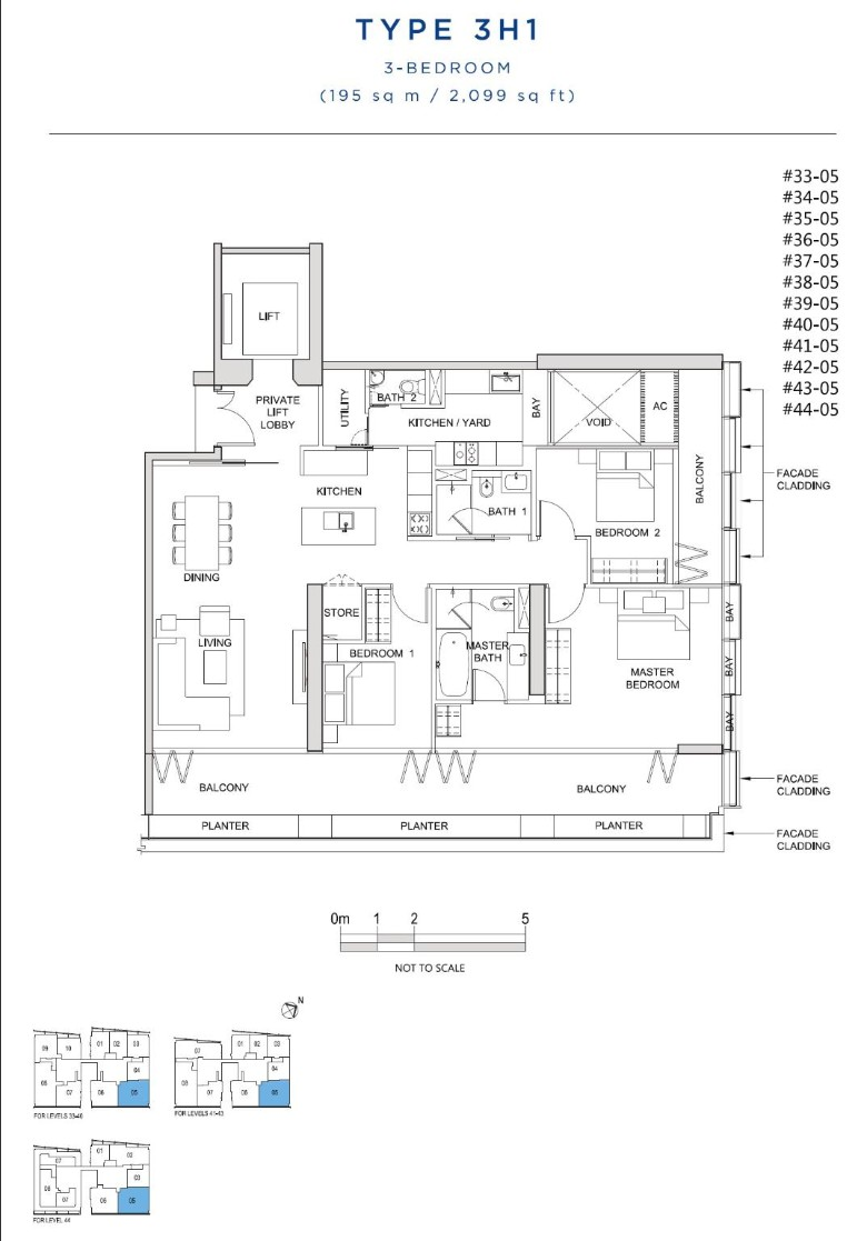 south beach residences 3 bedroom floorplan