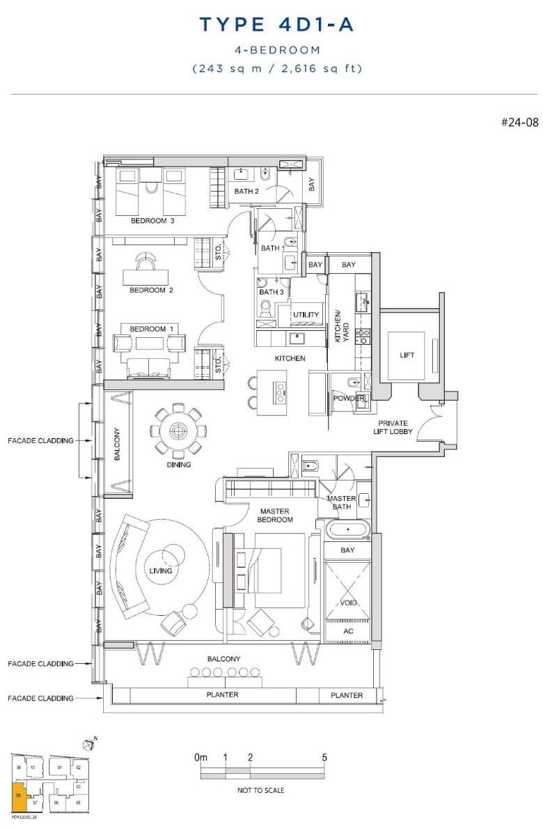 south beach residences 4 bedroom floorplan