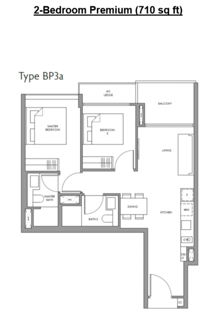 fourth avenue residences 2 bedroom layout