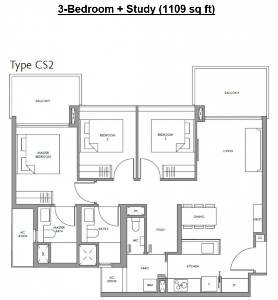 fourth avenue residences 3 bedroom layout