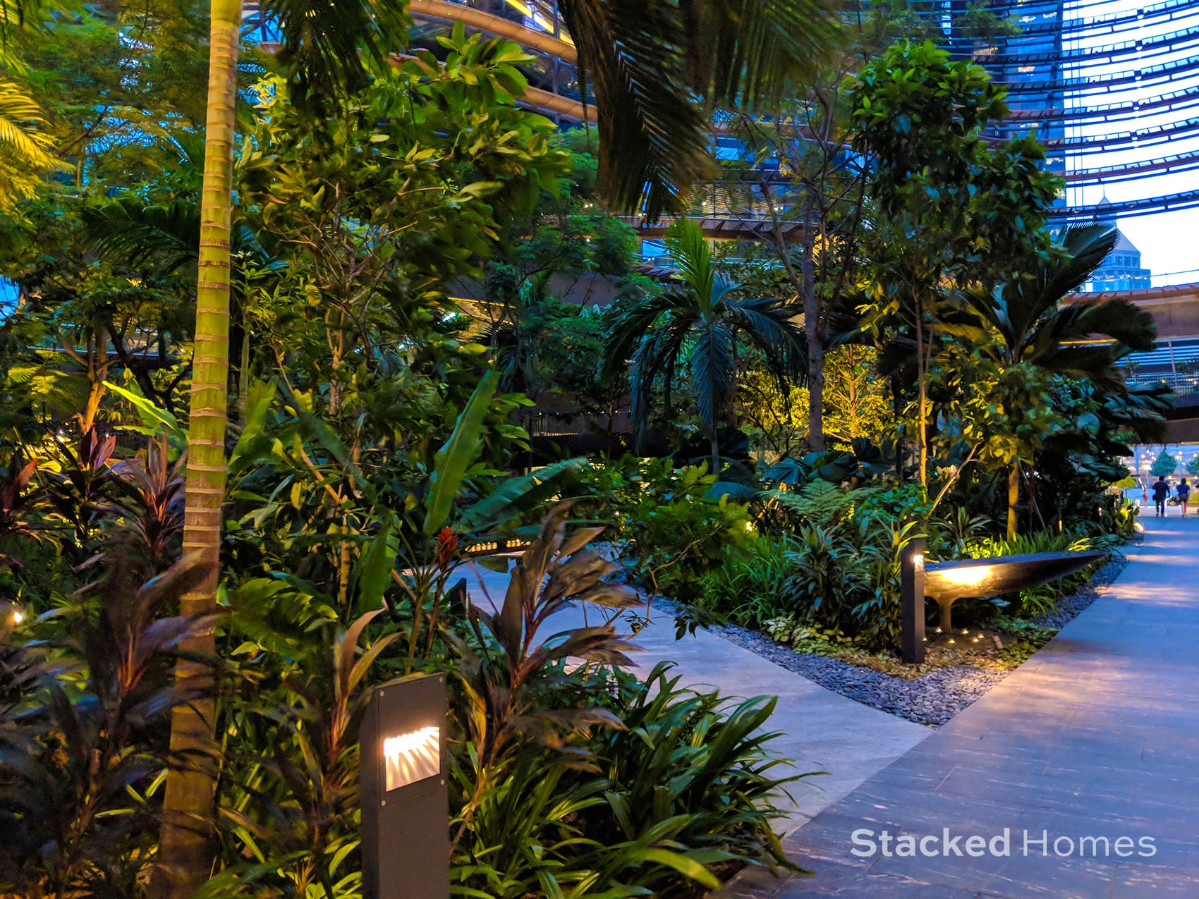 marina one residences night garden path