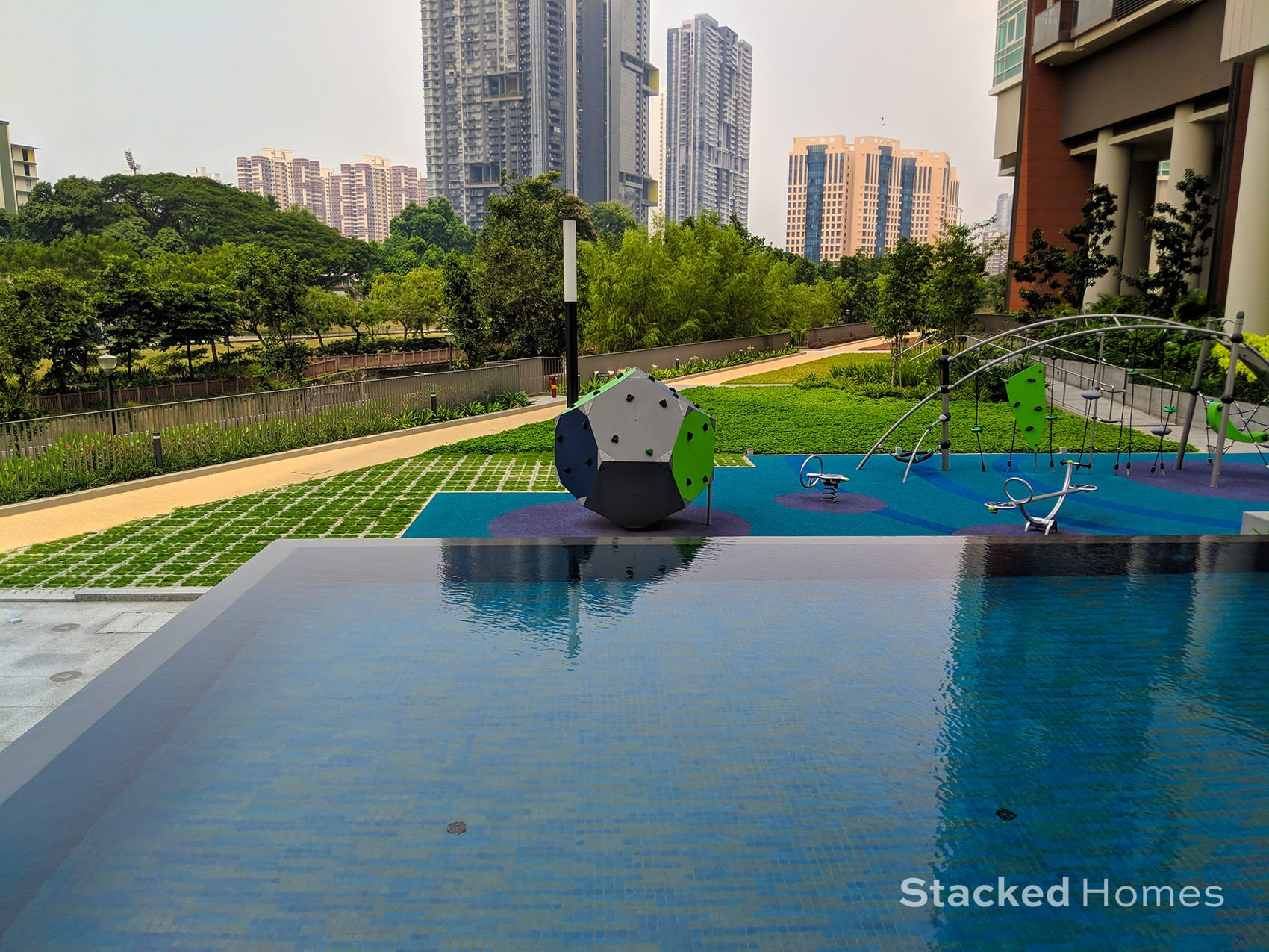Principal garden lap pool view