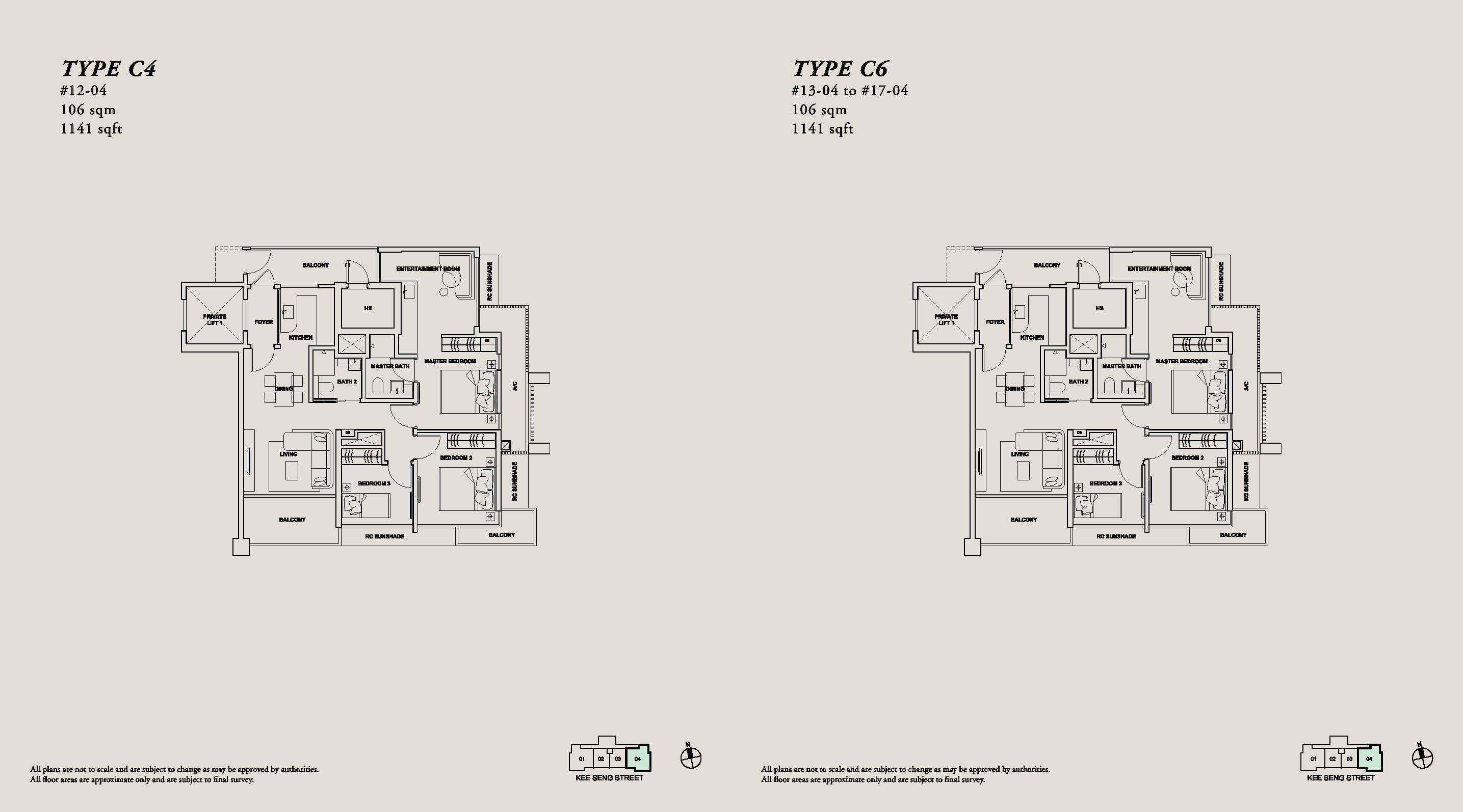 onze tanjong pagar 3 bedroom dual key floorplan