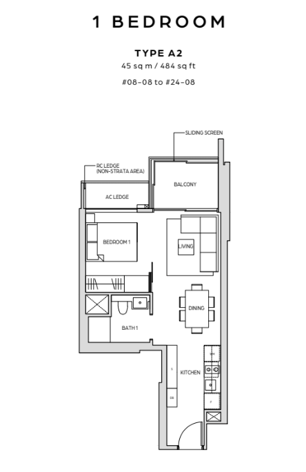 midtown bay 1 bedroom floorplan