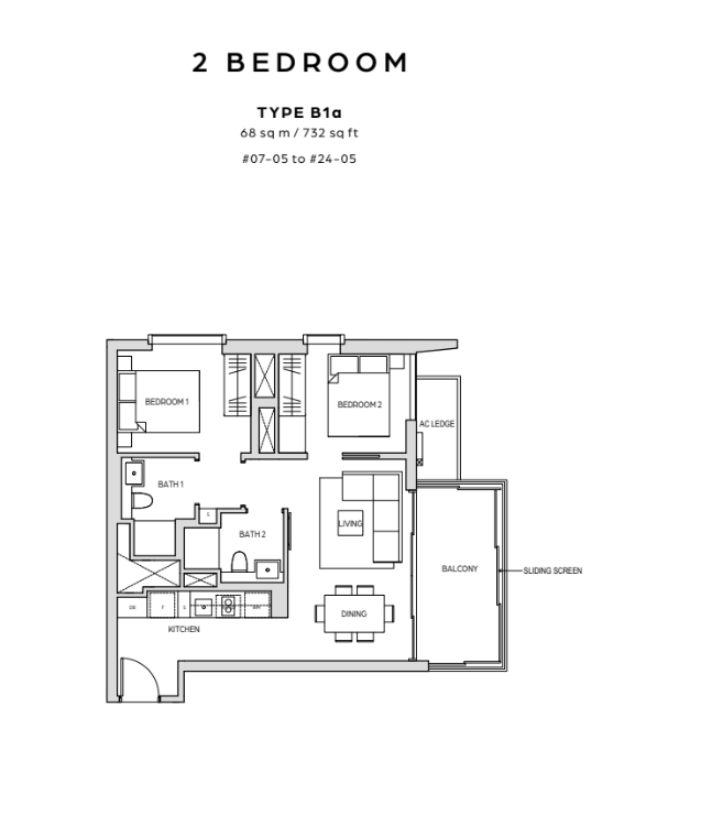 midtown bay 2 bedroom floor plan