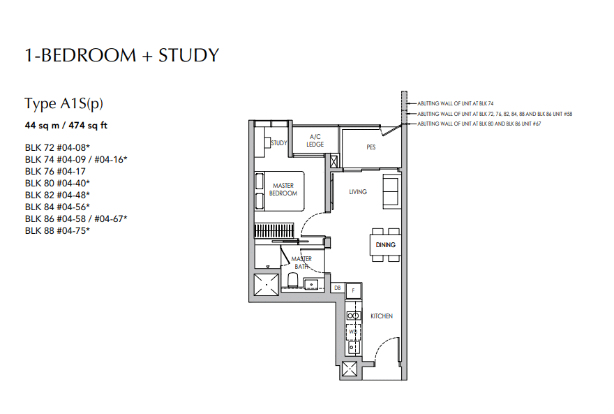 sengkang grand residences 1 bedroom floorplan