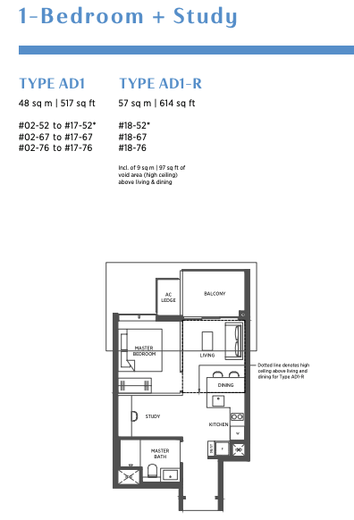 parc esta 1 bedroom plus study floorplan
