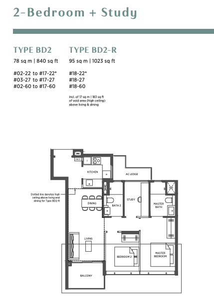 parc esta 2 bedroom plus study floorplan