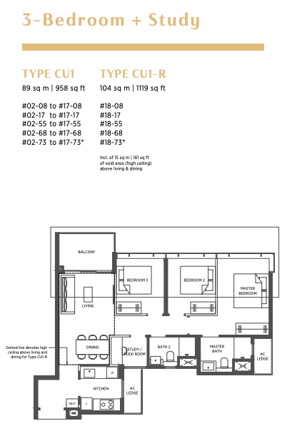 parc esta 3 bedroom plus study floorplan
