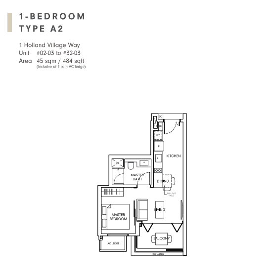 One holland village residences 1 bedroom floorplan