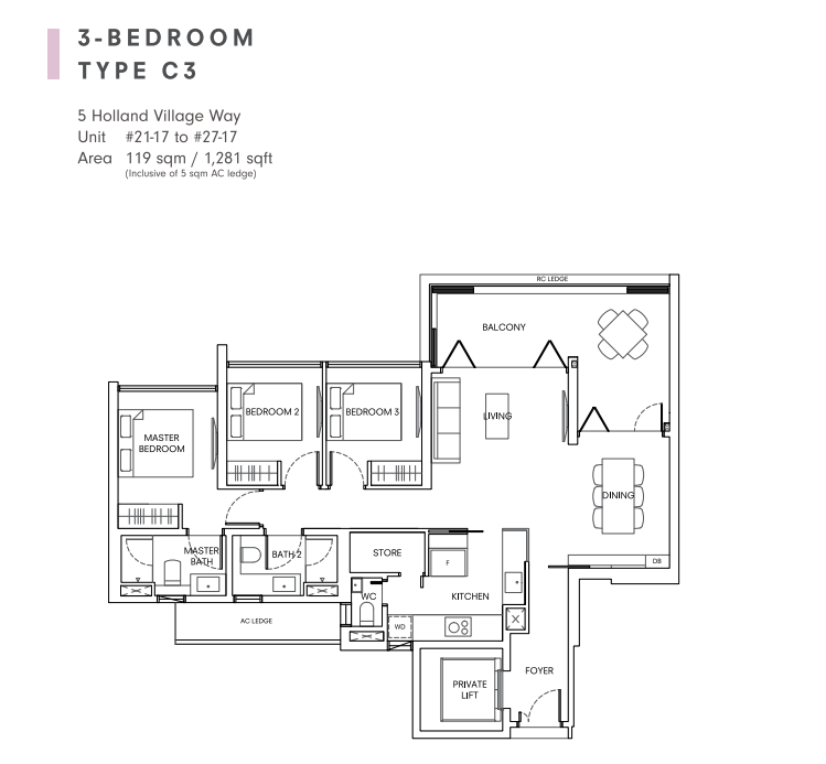 One holland village residences 3 bedroom floorplan