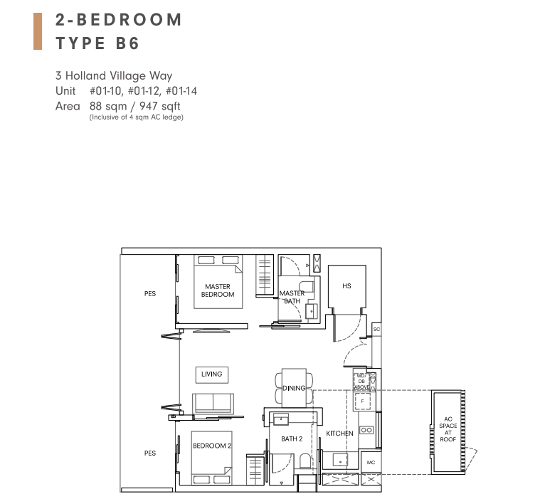 One holland village residences leven 2 bedroom floorplan