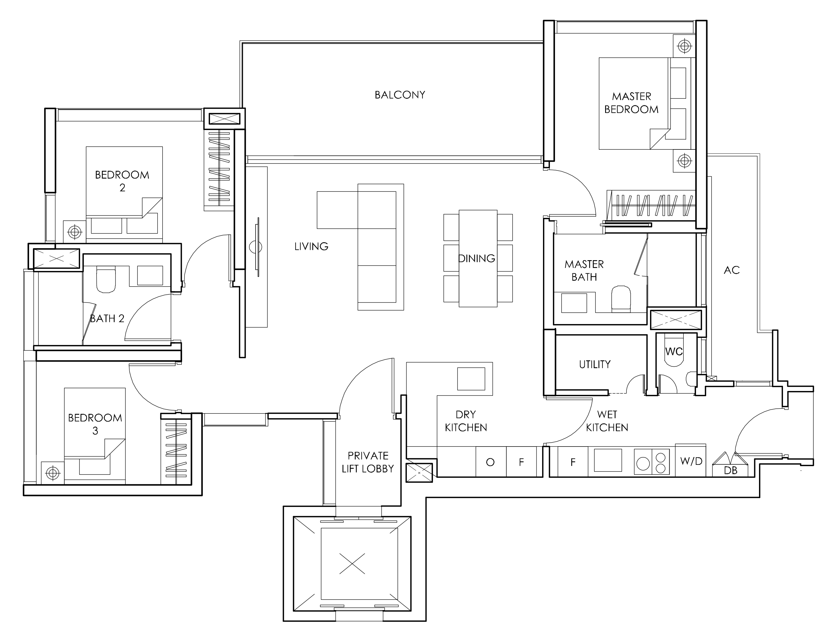 Sloane Residences Floor Plan 3-Bedroom