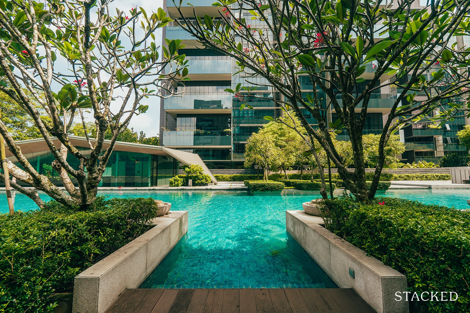 Leedon residence pool entrance