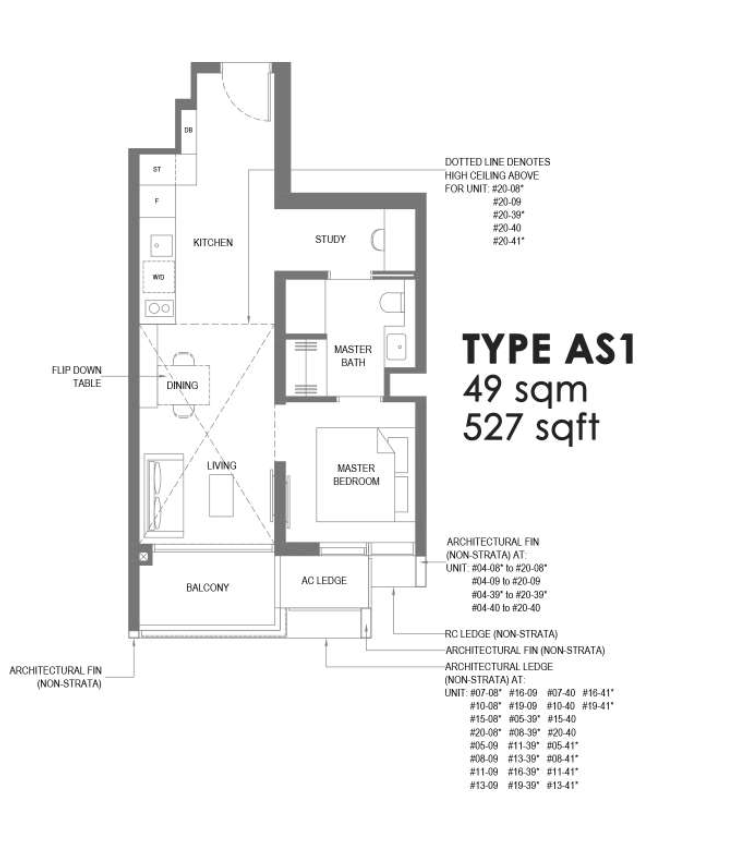 the m condo 1 bedroom plus study floorplan