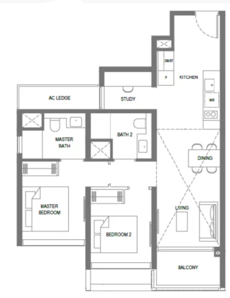 the m condo 2 bedroom plus study floorplan