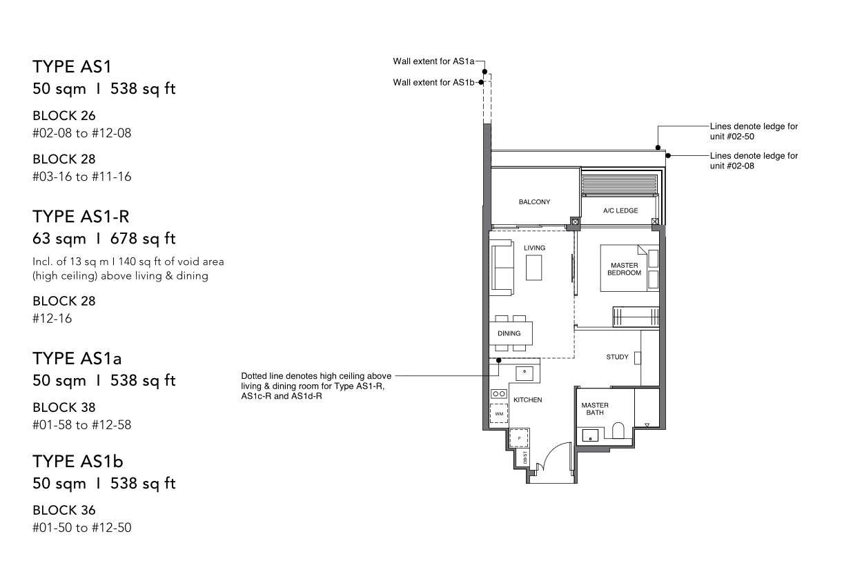 leedon green 1 bedroom study floorplan
