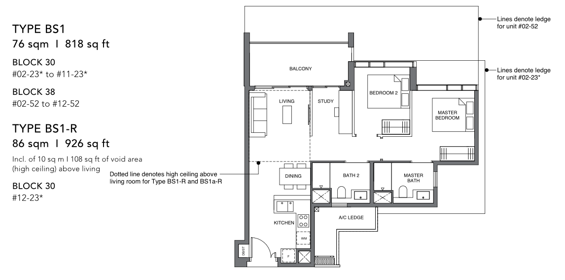 leedon green 2 bedroom study floorplan