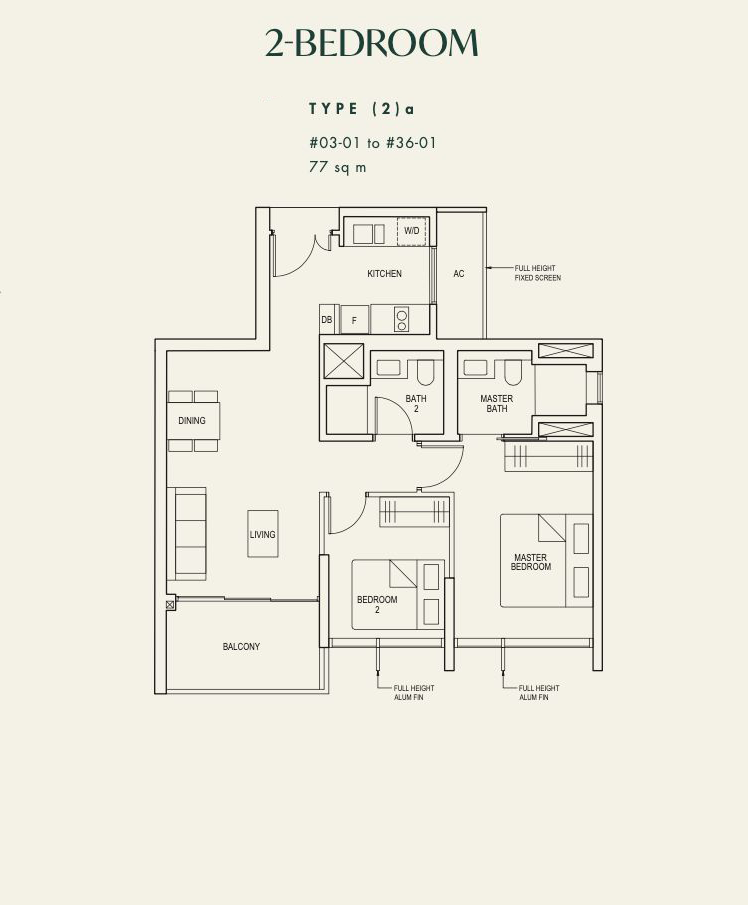 the avenir 2 bedroom floorplan