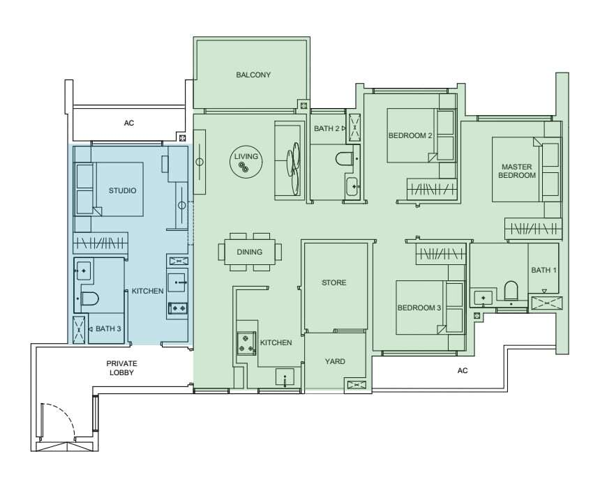 4 bedroom dual key condo unit floorplan