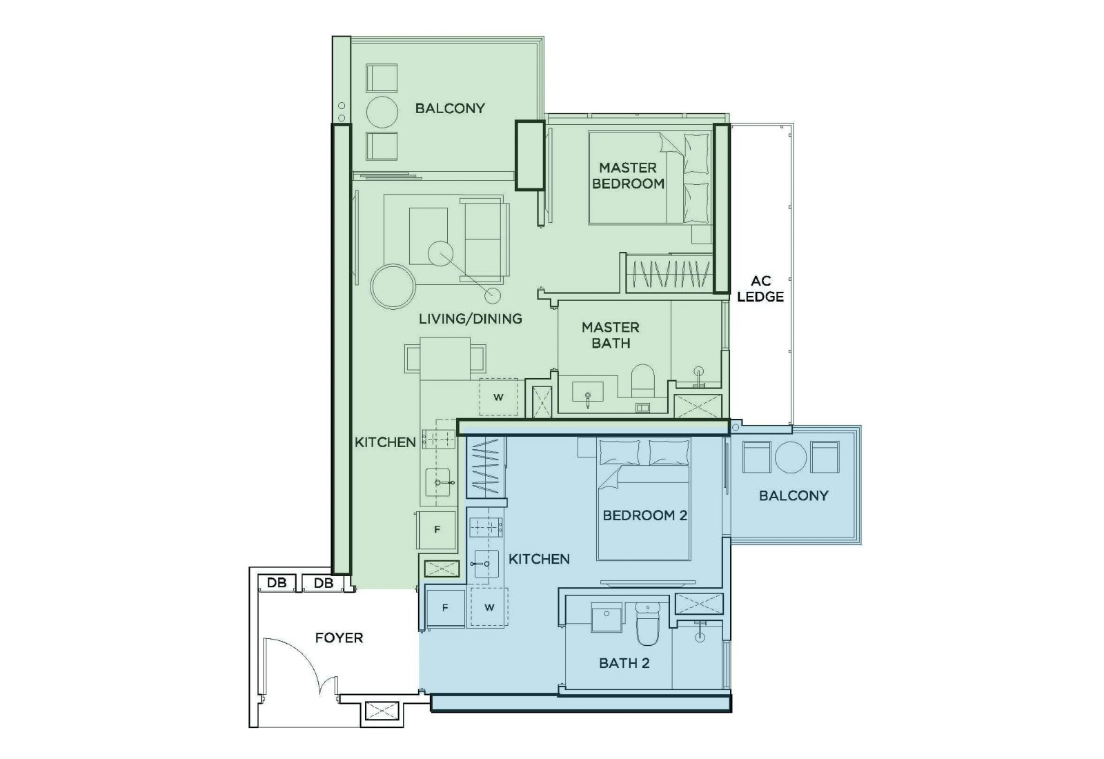 2 bedroom dual key condo floorpan