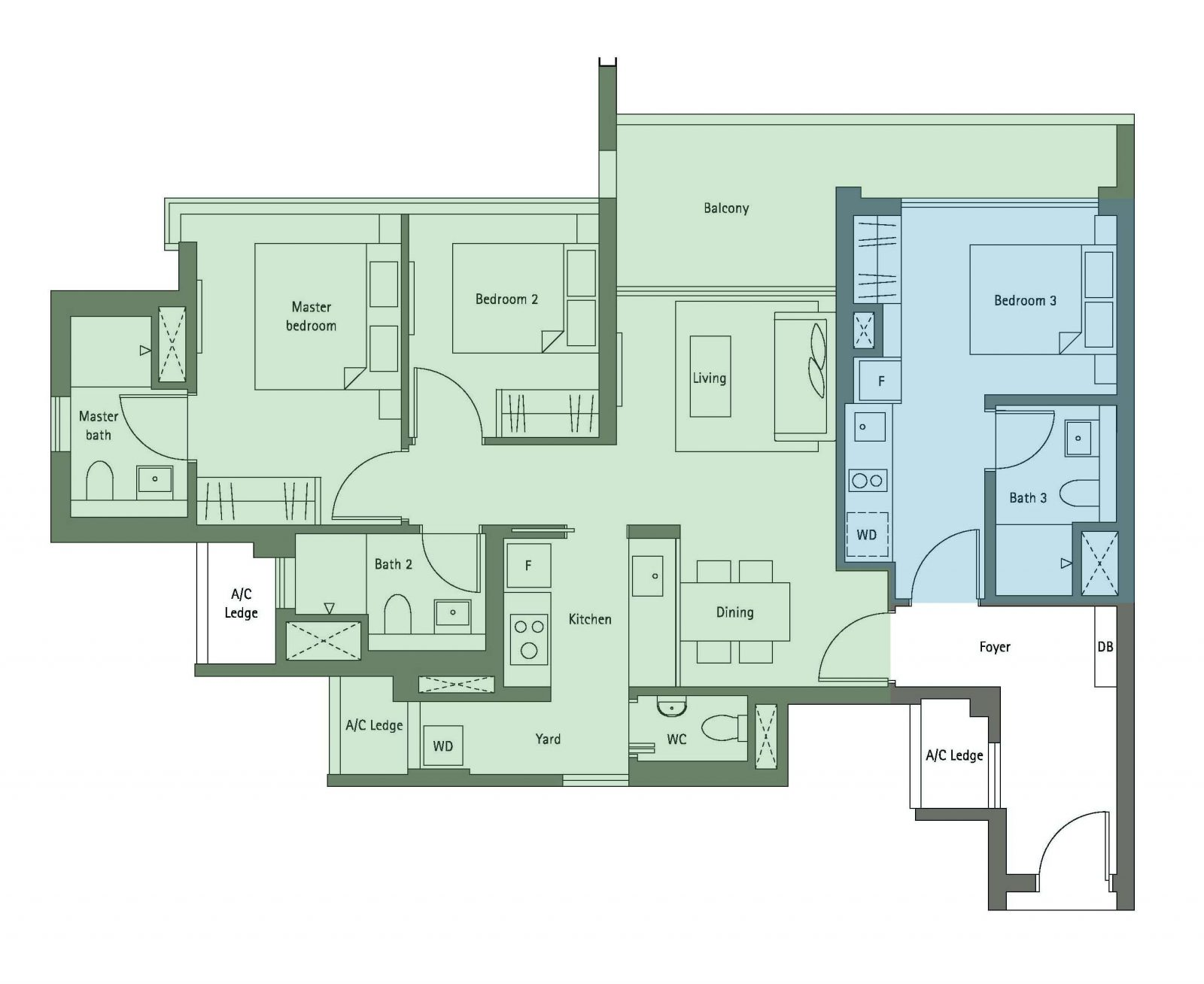 3 bedroom dual key condo floorpan