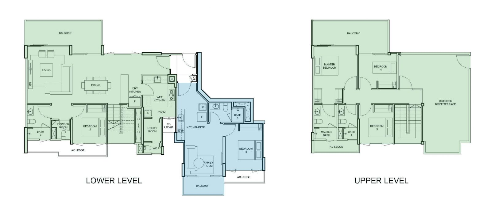 5 bedroom dual key condo unit floorplan