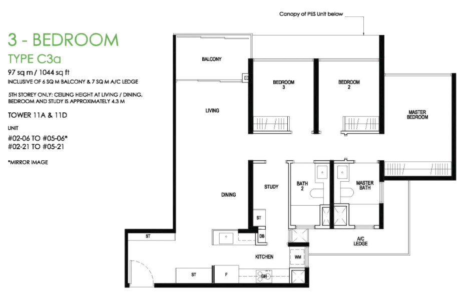 daintree residence 3 bedroom floorplan