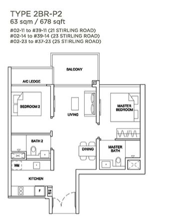 Stirling Residences 2 bedroom floorplan