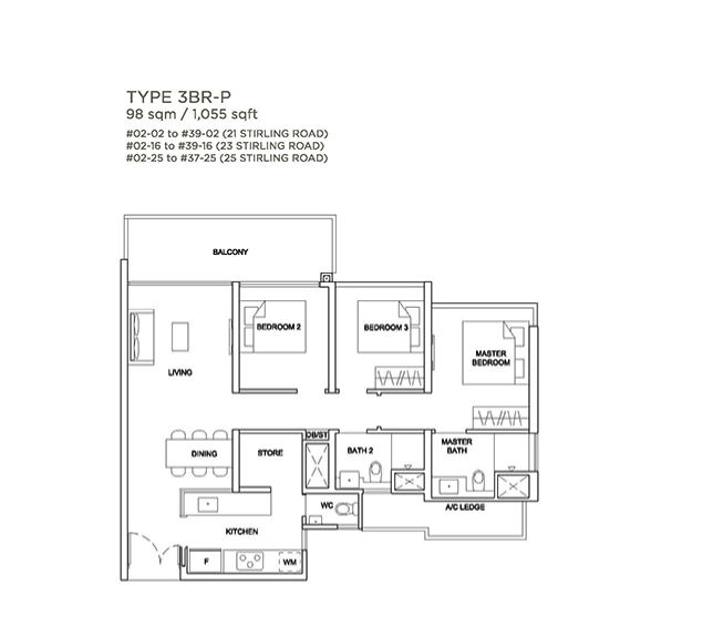 Stirling Residences 3 bedroom floorplan