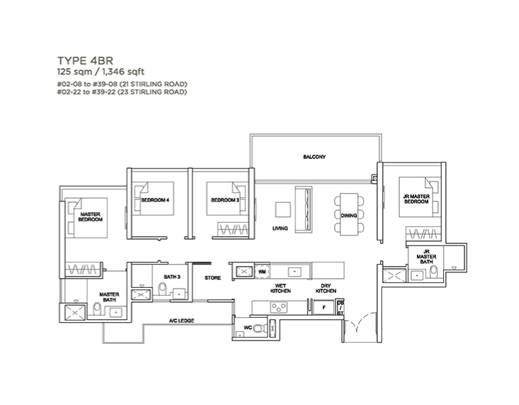 Stirling Residences 4 bedroom floorplan