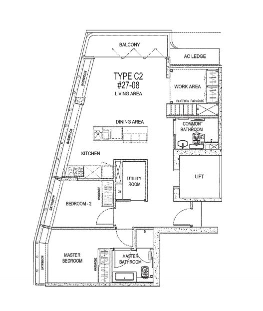 the Scotts tower 3 bedroom floorplan