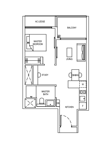 florence residences 1 bedroom study floorpla