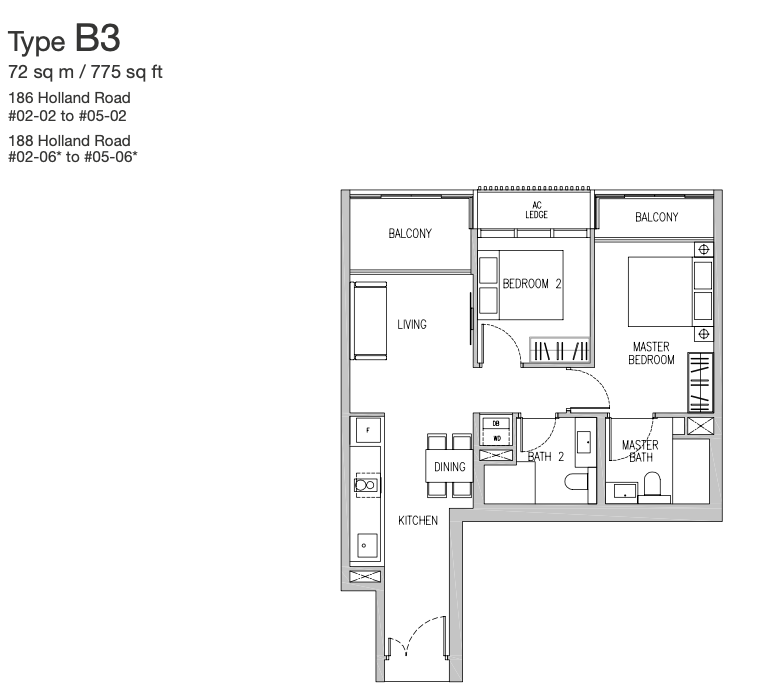 van holland 2 bedroom floorplan