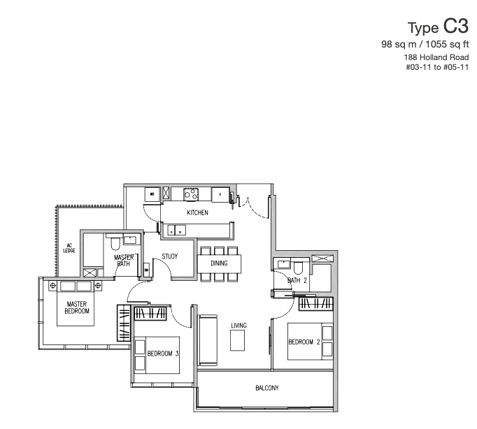 van holland 3 bedroom study floorplan