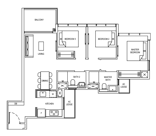 Florence Residences 3 bedroom floorplan