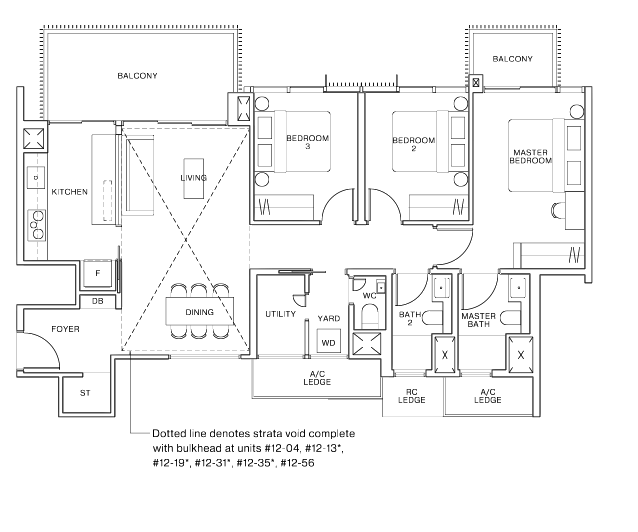 ki residences 3 bedroom floorplan