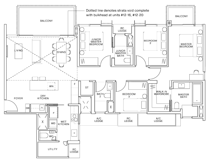 ki residences 4 bedroom floorplan