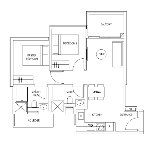 myra condo 2 bedroom b1 floorplan