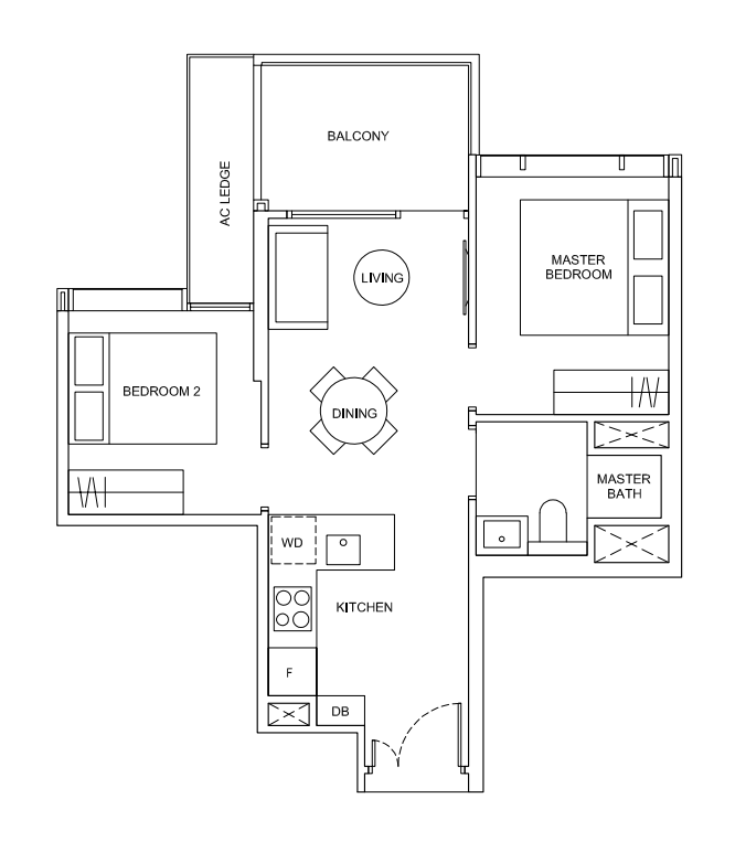 hyll on holland 2 bedroom floorplan