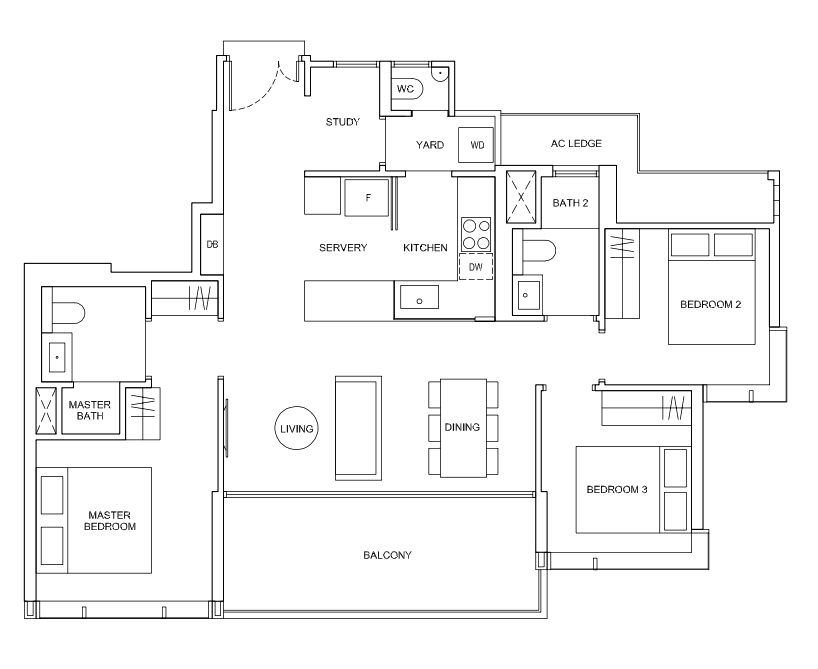 hyll on holland 3 bedroom floorplan