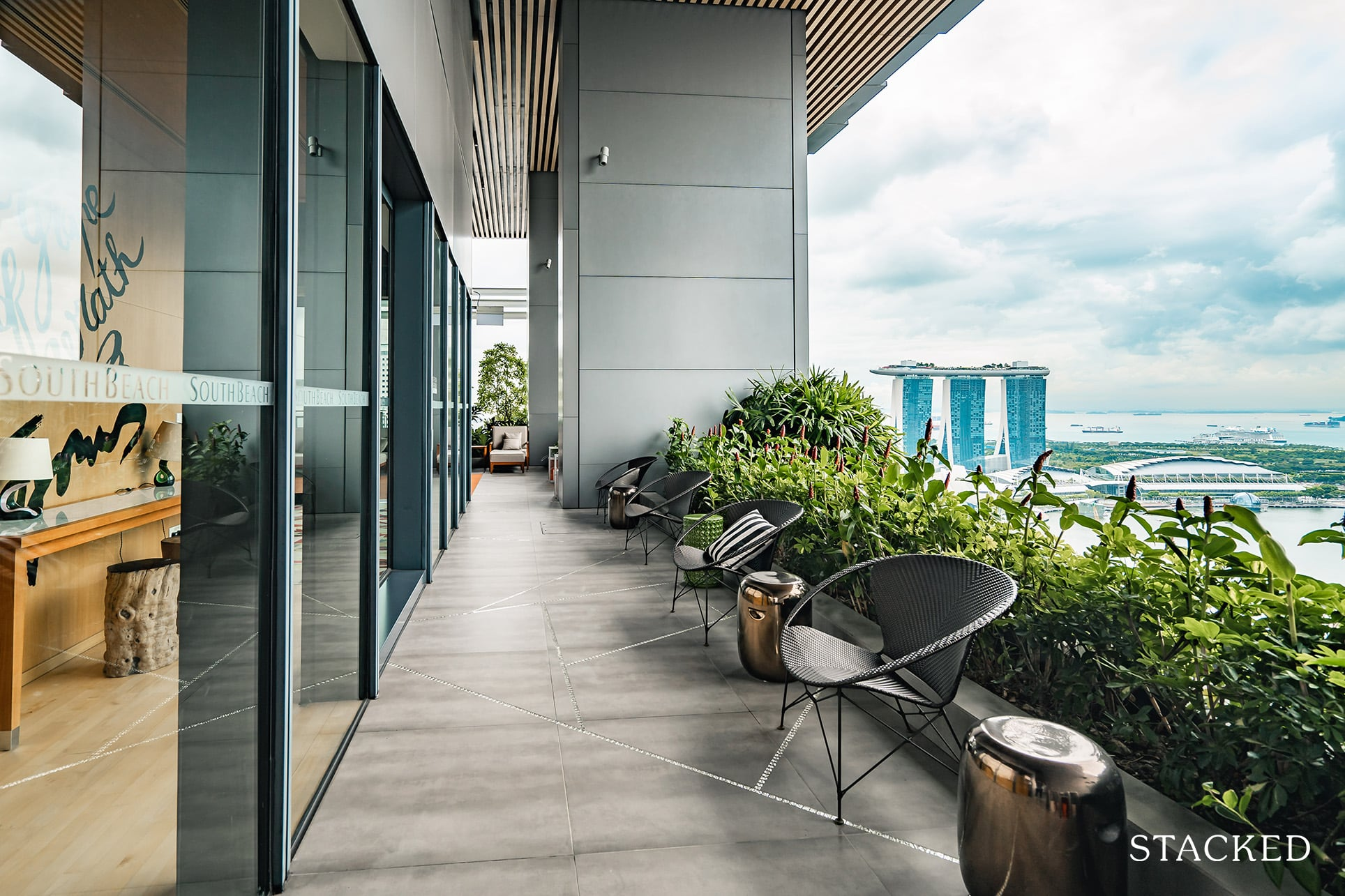 South Beach residences seating area