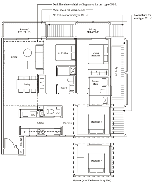the reef at king's dock 3 bedroom floorplan