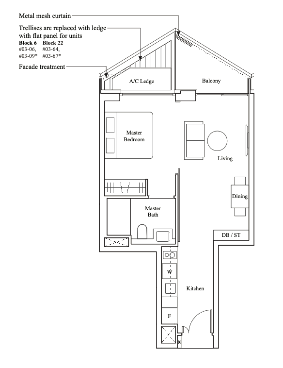 the reef at king's dock 1 bedroom floorplan