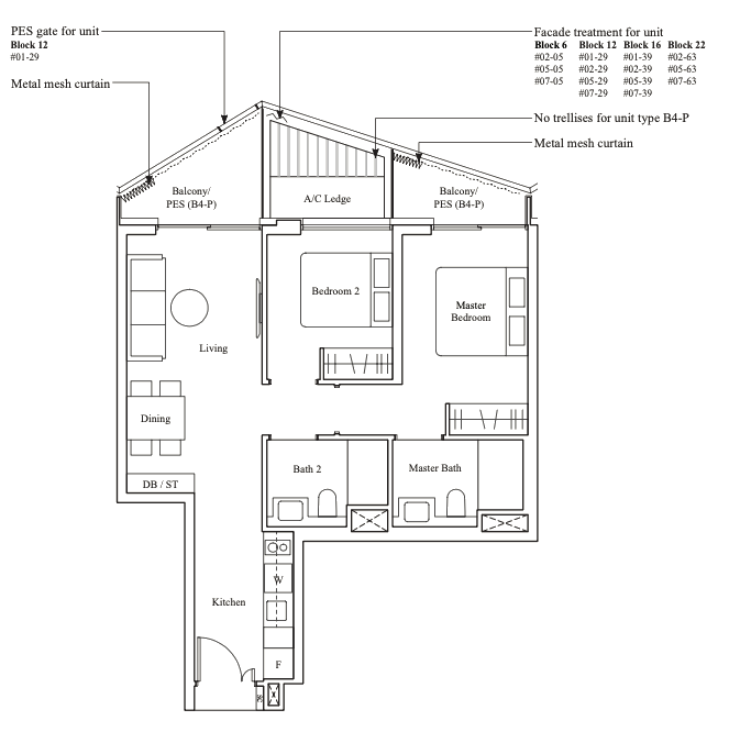 the reef at king's dock 2 bedroom floor plan