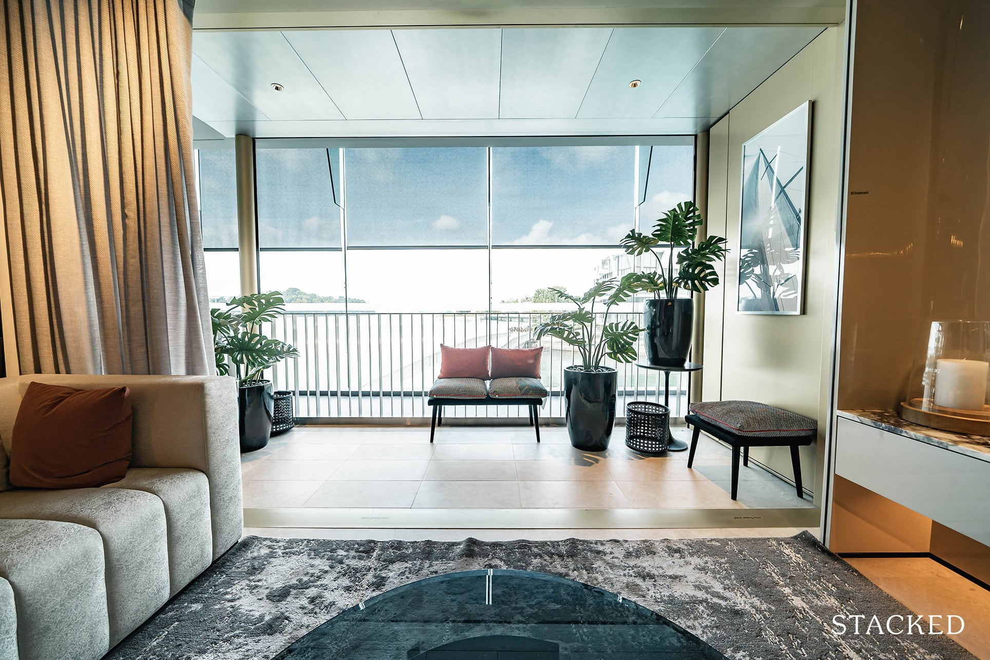the reef at king's dock 3 bedroom living balcony