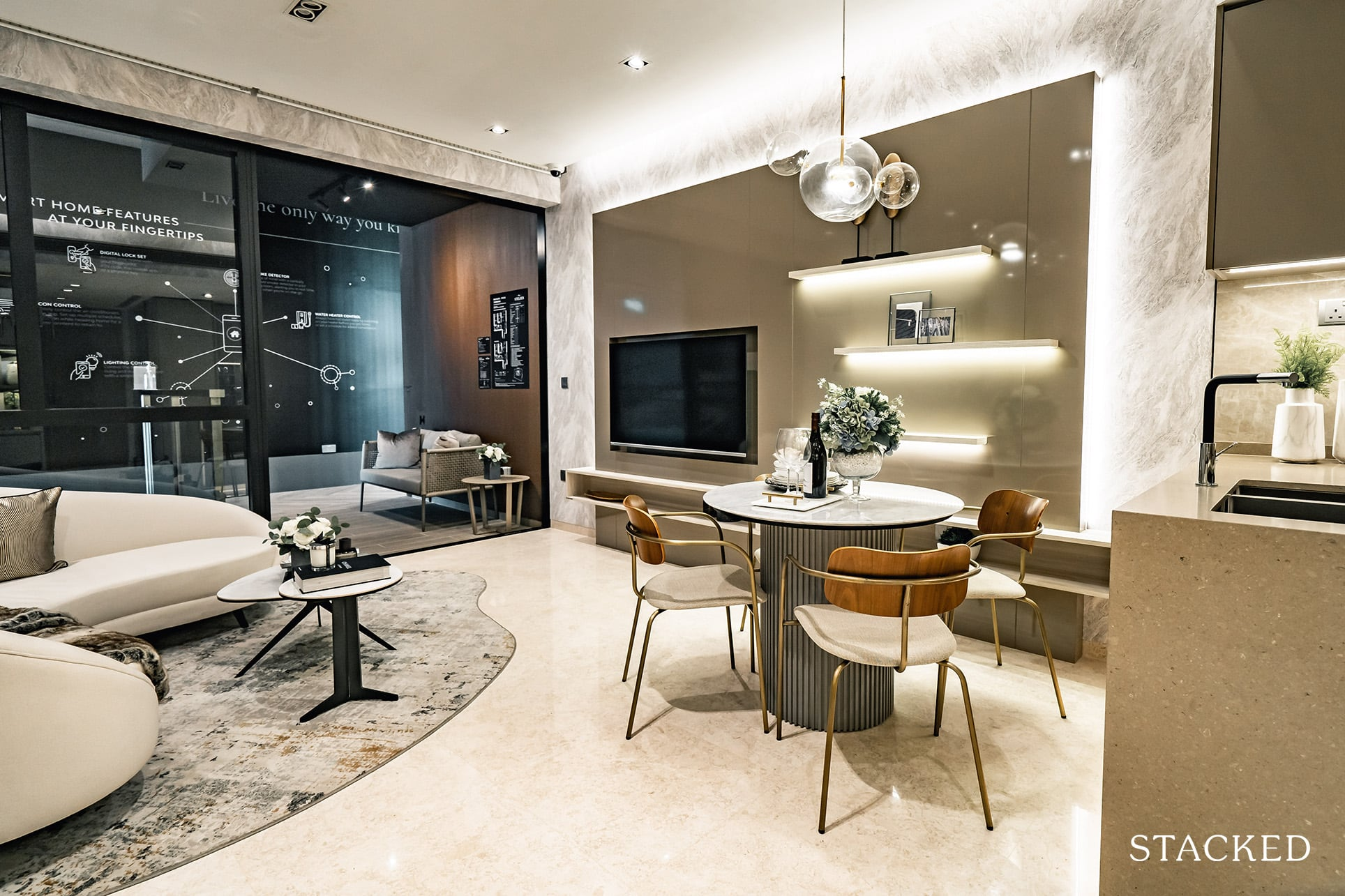 the atelier 2 bedroom living and dining