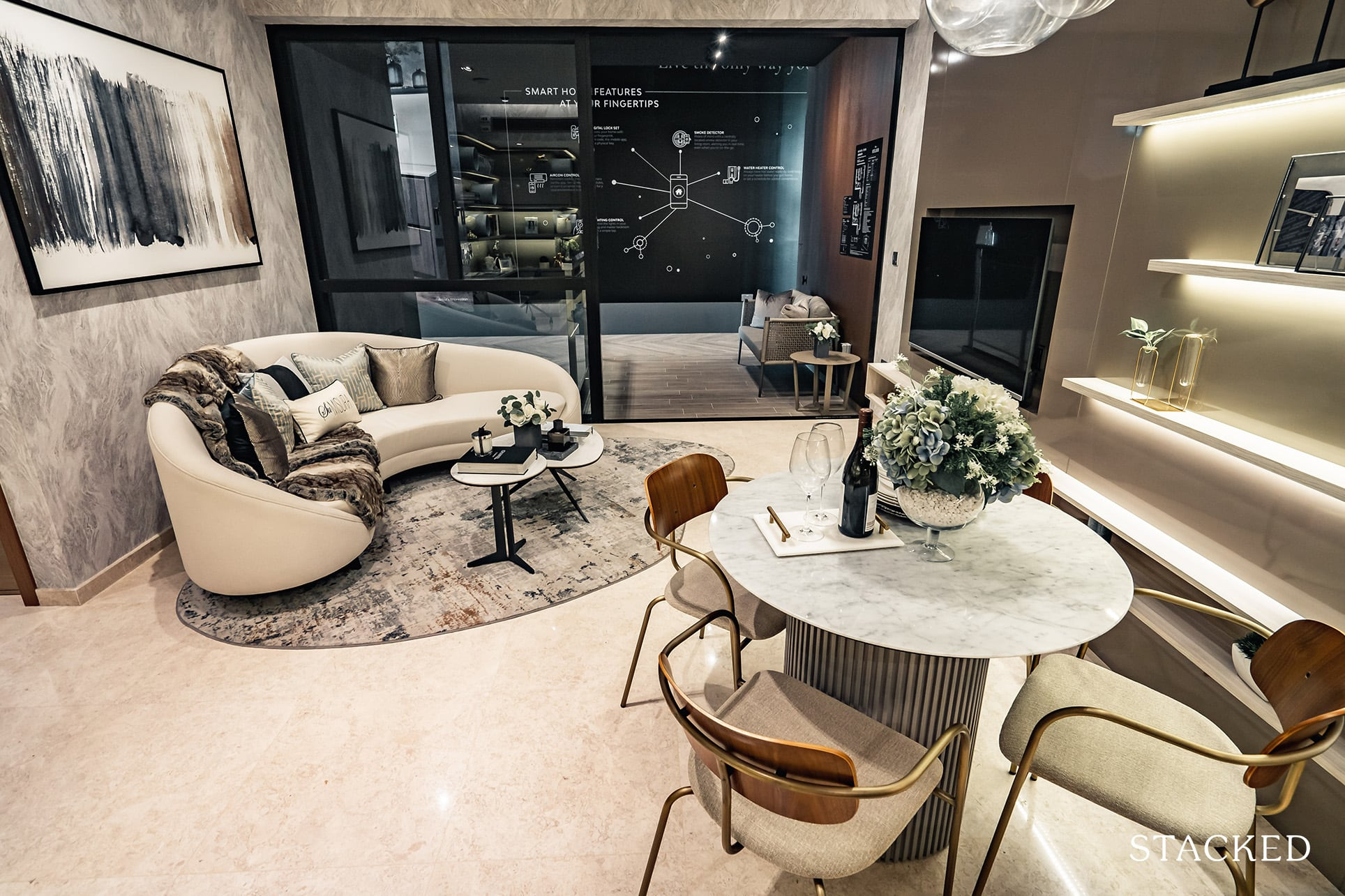 the atelier 2 bedroom living dining